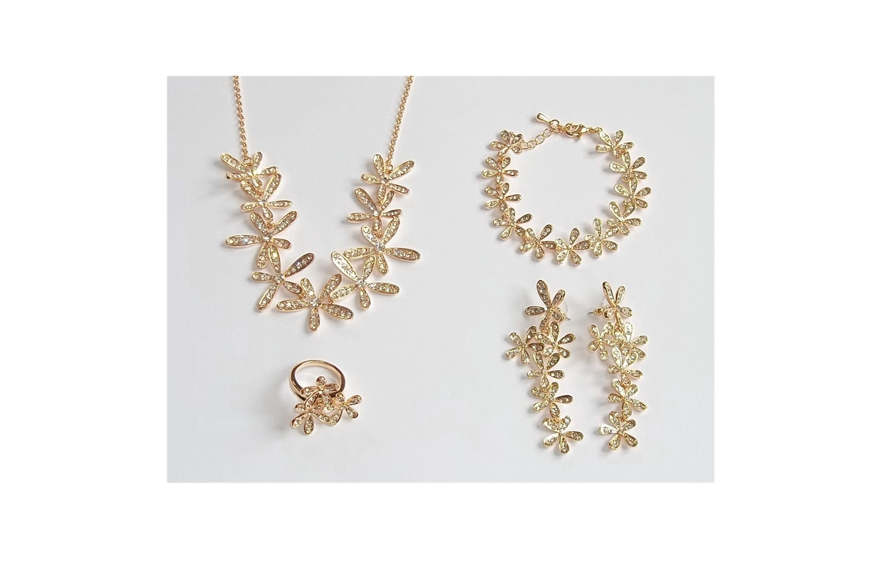 4 Piece Silver Plated or Gold Plated Austrian Crystal Flower Jewellery Set