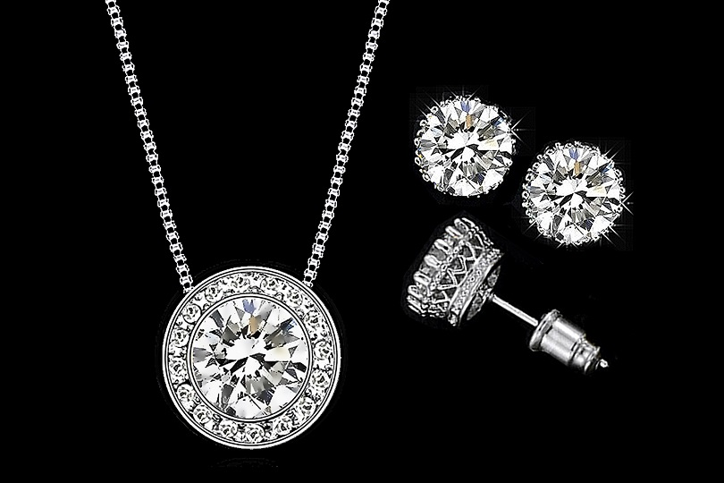 Swiss CZ Diamond Necklace and Earring Set – Swarovski Tooth Crystals ... d502321b7